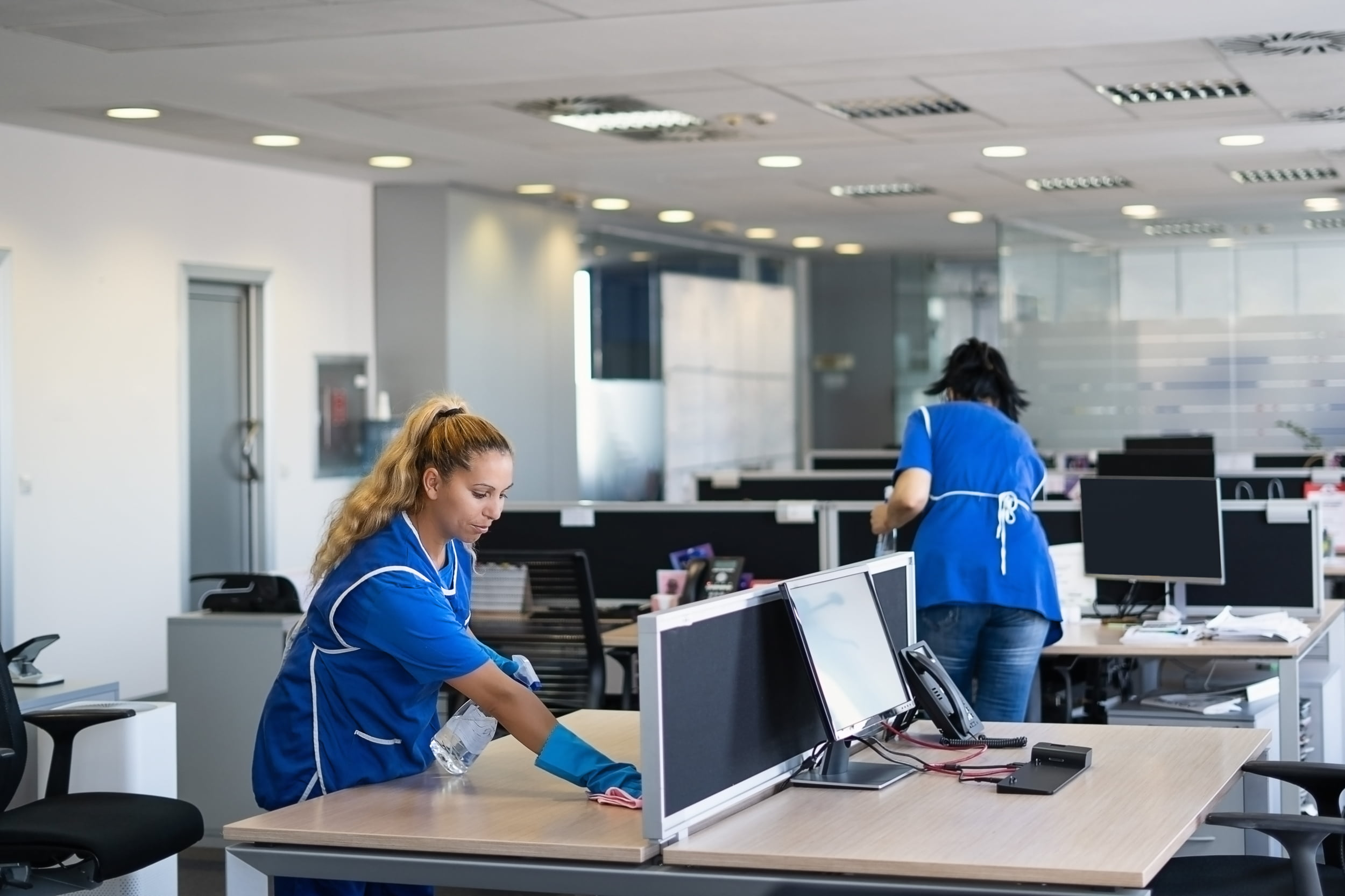 Two women cleaners cleaning office. Star Clean Ltd, Cleaning, Cleaners, Commercial Cleaners, Domestic Cleaners. Bath, Bristol