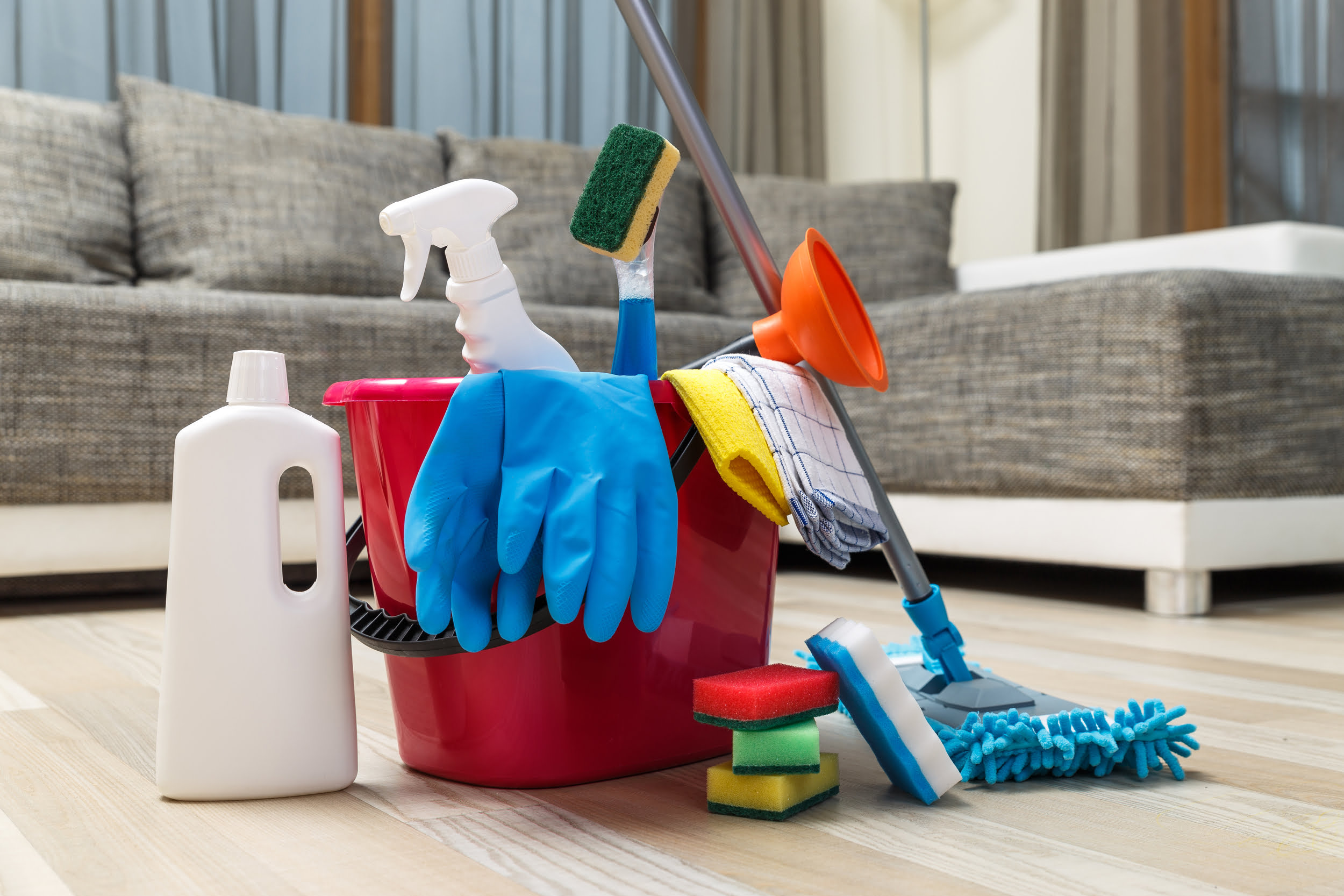 Cleaning supplies: bucket, mop, bottles, rubber gloves, sponges. Star Clean Ltd, Cleaning, Cleaners, Commercial Cleaners, Domestic Cleaners. Bath, Bristol